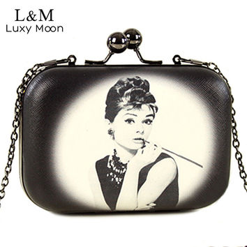 Vintage Women Evening Clutch Bags Flowers Audrey Hepburn Cartoon Printing Hand Bag Mini Leather Clip Brand Party Purse XA267H