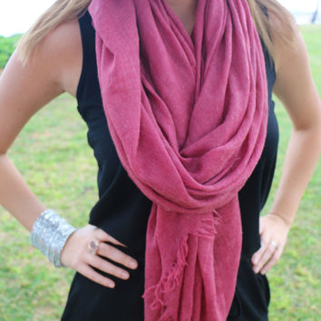 Super Soft Spring Scarf in Raspberry