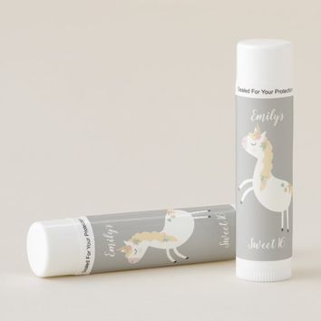 Gold and White Floral Unicorn Sweet 16 Favors Lip Balm