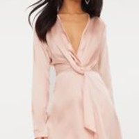 Nude Satin Long Sleeve Wrap Dress