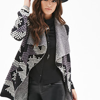 FOREVER 21 Southwestern-Patterned Shawl Collar Cardigan Black/Grey