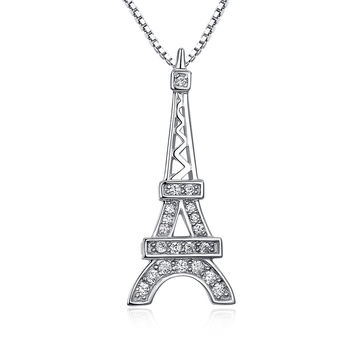 Sterling Silver Eiffel Tower W. Cubic Zirconia Pendant Necklace