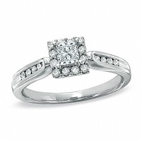 1/2 CT. T.W. Princess-Cut Diamond Framed Engagement Ring in 14K White Gold