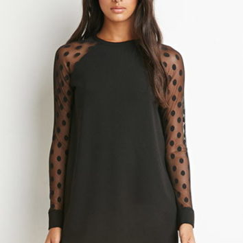 Dotted Mesh-Sleeve Dress