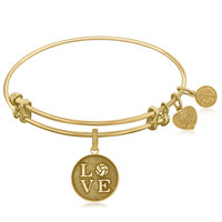 Expandable Bangle in Yellow Tone Brass with Volleyball Symbol