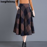 Luoyifxiong Winter Vintage Wool Midi Skirts Womens Pleated Casual Plus Size High Waist Swing Plaid Long Skirt 3XL