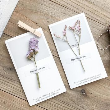 1pc Creative birthday card Dry flower Thanksgiving blessings card Message card Holiday supplies