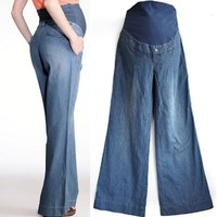 Wide Leg Maternity Jeans with Belly Panel