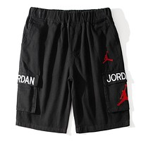 Jordan Summer New Fashion Embroidery Letter People Shorts Black