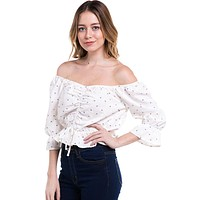 Ditsy Floral Rouched Front Peasant Top