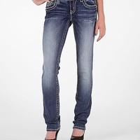 Miss Me Floral Straight Stretch Jean
