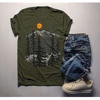 Men's Forest T Shirt Hand Drawn Shirts Deer Woods Hipster Camping Explore Graphic Tee