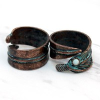 patina leaf boho adjustable ring
