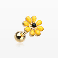 Golden Spring Blossom Flower Cartilage Tragus Earring
