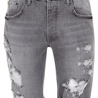 Mid Grey Washed Ripped Shorts