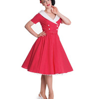 1950s Style Red & White Dotted Short Sleeve Claudia Dress