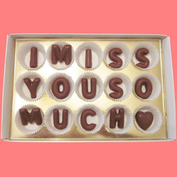 I Miss You So Much Large Milk Chocolate Letters-Long Distance Holiday Gift for Her Him BFF-Made to Order