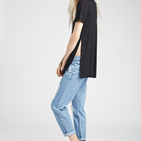 High Slit Scoop Neck Tee