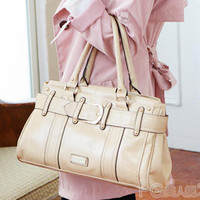 YESSTYLE: PG Beauty- Belted Satchel (Beige - One Size) - Free International Shipping on orders over $150