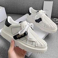 Dior 2021 spring and summer thick soled small white shoes Whire&Black