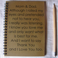 Mom and Dad from teenager- 5 x 7 journal