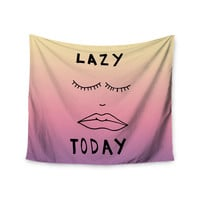 """Vasare Nar """"Lazy Today Tropical"""" Yellow Pink Wall Tapestry"""