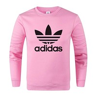 Adidas Fashion Women Men Print Round Collar Top Sweater Sweatshirt Pink