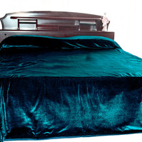 "Luxury teal velvet bedcover - Couture bed linen in luxe velvet -King Size bedspread 110"" X 96""- teal bedspread"