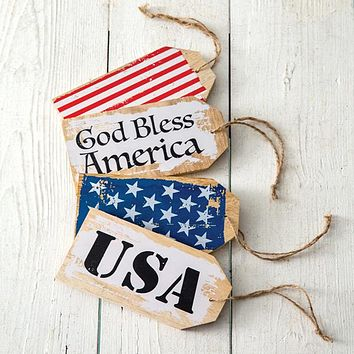 Set of 4 Patriotic Wooden Tags