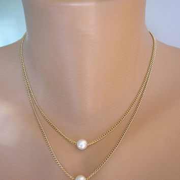 Delicate Jewelry, Minimalist Pearl Necklace, Floating Pearl Necklace, Bridesmaid Gift, Layered Jewelry, Double Strand, Gold
