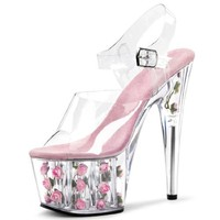 Clear and Light Pink Heels with Small Pink Rosettes in Base 7'' Stiletto Heel Size: 11