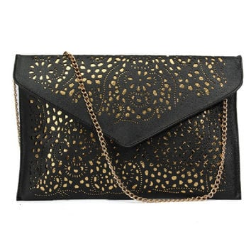 Fashion Women Trand Cutout Handbags European and American Style Hollow Out Shoulder Bags Vintage Envelope Day Clutches New Lady