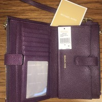 Purple Michael Kors Leather Smart Phone Wristlet