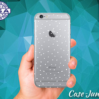 White Dot Pattern Design Case For iPhone 5 iPhone 5C iPhone 6 iPhone 6s iPhone 6s Plus and iPhone SE iPhone 7 Plus Clear Case