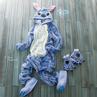Flannel Animal Blue/Pink Stitch Onesuit Adult Unisex Cosplay Costume Pajamas All In One Party Sleepwear For Men Women Adults