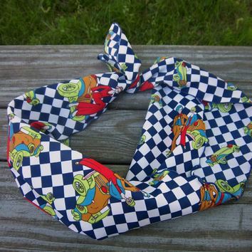 Vintage Scarf Checkered Scarf Cartoon Scarf Blue Scarf White Scarf Ladies Accessory