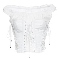 Cotton Poplin Off-the-Shoulder Corset Top | Moda Operandi