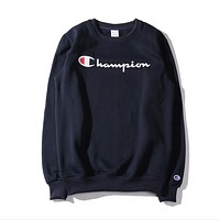 Classic letter printing plus velvet sweater for men and women sports long-sleeved