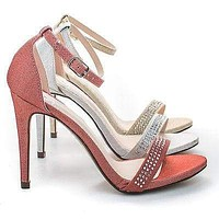 Jayvee By Delicious, Rhinestone Crystal Encrusted Satin Sandal, Women Evening Shoes