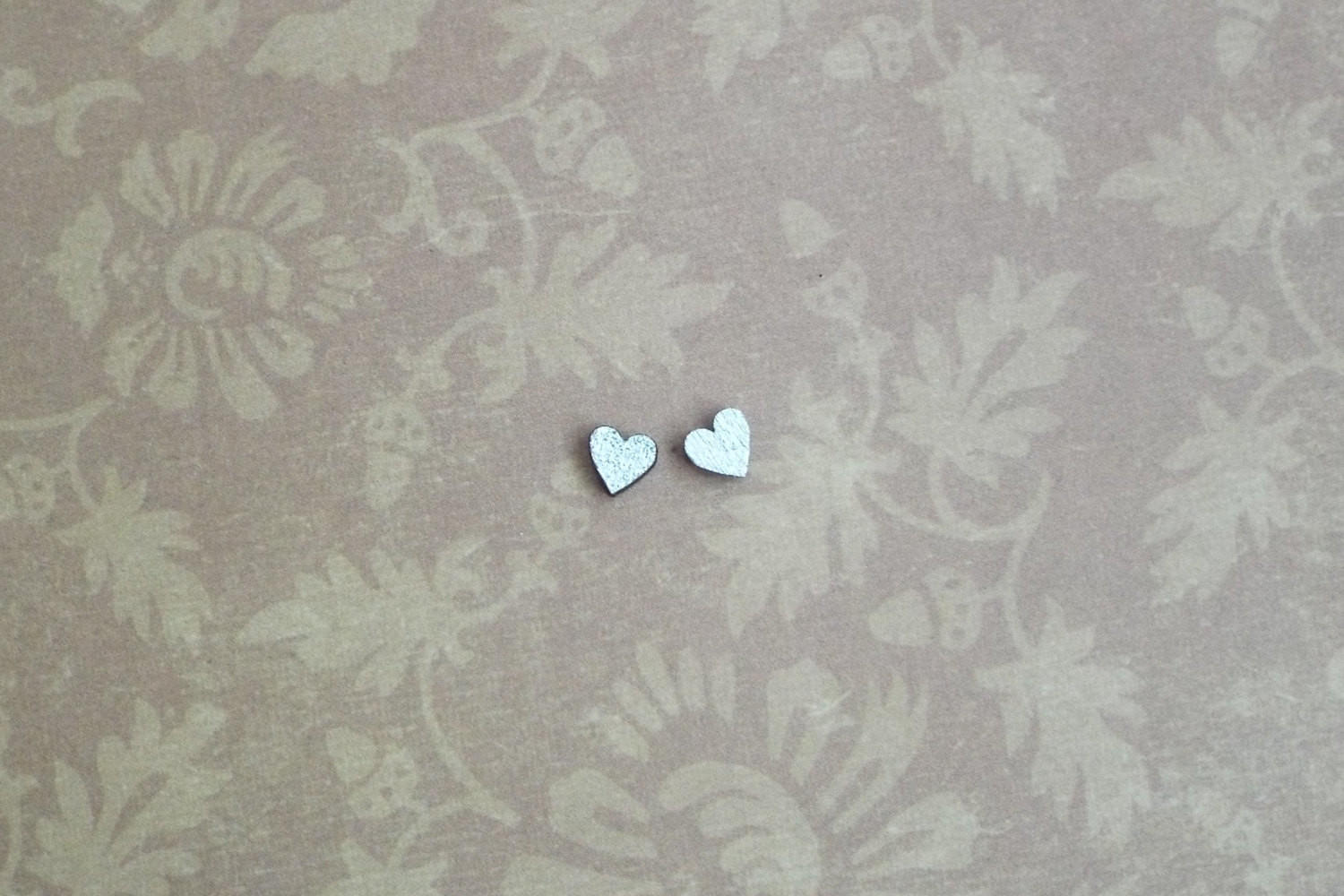 Image of Tiny Silver Wood Heart Stud Earrings Post Wooden Studs