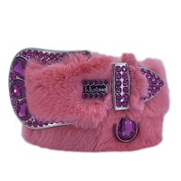 b.b. Simon Pink Fur Purple Swarovski Crystal Belt