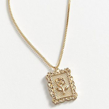 Rose Frame Pendant Necklace | Urban Outfitters