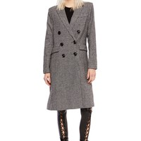 Black and White Houndstooth Plaid Coat