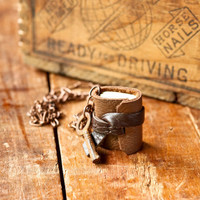 Mini Leather Journal Necklace with Skeleton Key