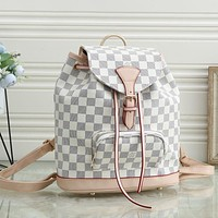 LV Louis Vuitton new retro letter printing large-capacity backpack school bag