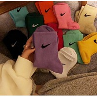 Nike socks in the tube, spring and autumn trend, couple sports sweat absorption five pieces