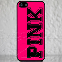 Custom Black Apple iPhone 5 Pink Letters Text Logo Monogram Case Cover Protector