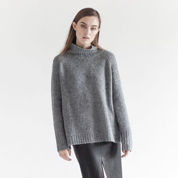 Hudson Oversized Mock Neck Sweater (Grey)