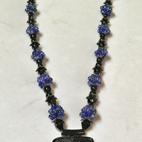 Black and Royal Blue Beaded Necklace - Combination Bead Necklace - Seed Bead Ball Necklace - In the Middle of the Night