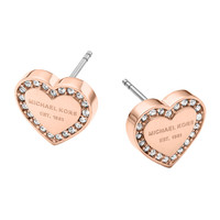 Rose Golden Pave Logo Heart Earrings - Michael Kors - Rose gold